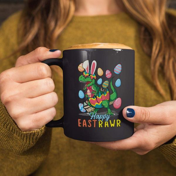 Happy Eastrawr T-Rex Mug -- Black