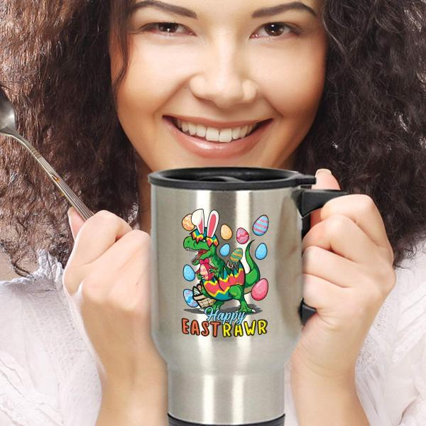 Happy Eastrawr T-Rex Travel Mug
