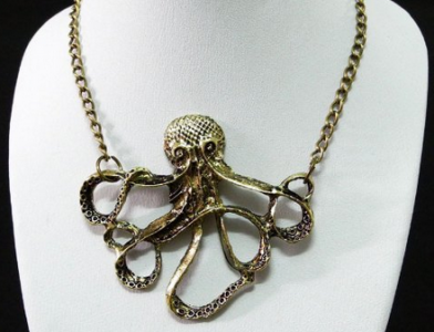 Vintage Steampunk Nautical Style Octopus Necklace