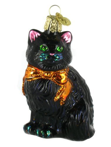 Blown Glass Black Cat Ornament