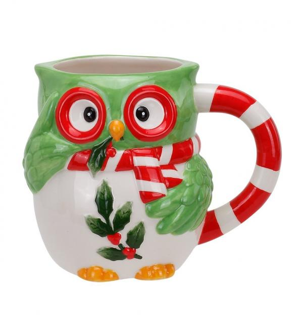 Owl and Holly Christmas Mug