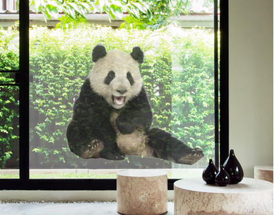 Laughing Panda Window Mural