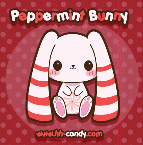 Peppermint Bunny by HHCandy: This bunny has fresh breath! Candy bunny art of HHCandy