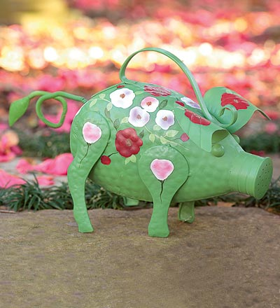 Folk Art Pig Watering Can