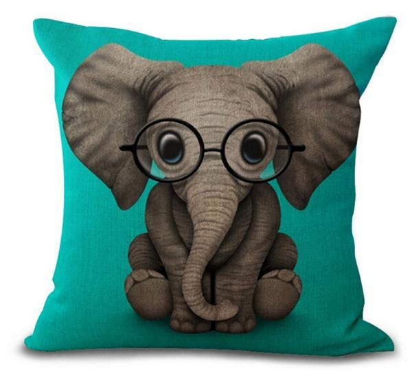 Funny Elephant Throw Pillow Case