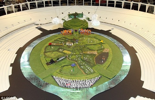 A model of the grass fields at the beginning of the 2012 Olympic opening ceremonies.