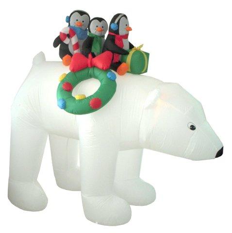 Inflatable Polar Bear with Penguins