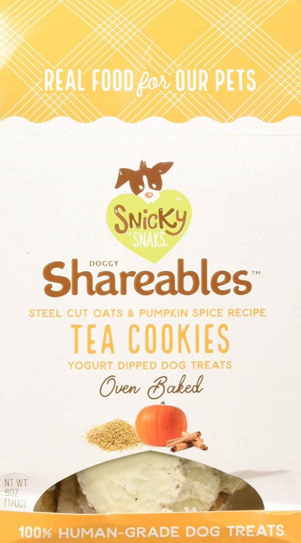 Snicky Snaks yogurt-dipped pumpkin spice tea cookies for dogs