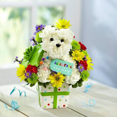 Puppy-Shaped Flower Arrangements: Cute doggy flower pot (image via 1800flowers Facebook)