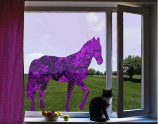 Retro Floral Horse Window Picture