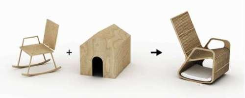 Tremendous Rocking Chair Plus Dog House Creates One Rocking Pet Bed Frankydiablos Diy Chair Ideas Frankydiabloscom