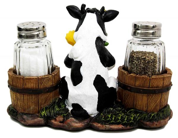 Sunflower Cow Salt and Pepper Shaker Set