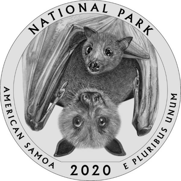 National Park of American Samoa Quarter Features Fruit Bat Mom & Pup