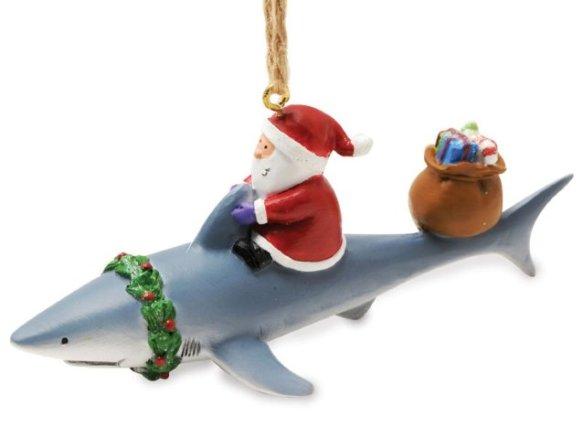 Santa Riding a Shark Ornament