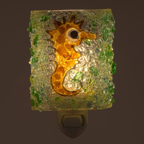 Cool sea horse night light from 100% post-consumer recycled bottle glass
