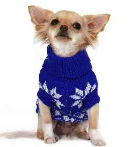 Blue Snowflake Dog Sweater