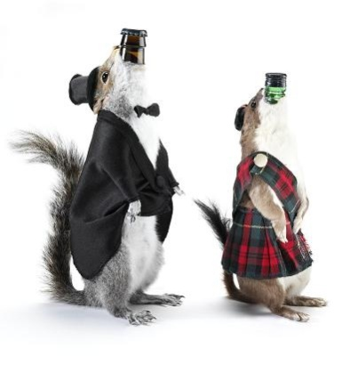 Weasels and squirrels are used as bottle holders.