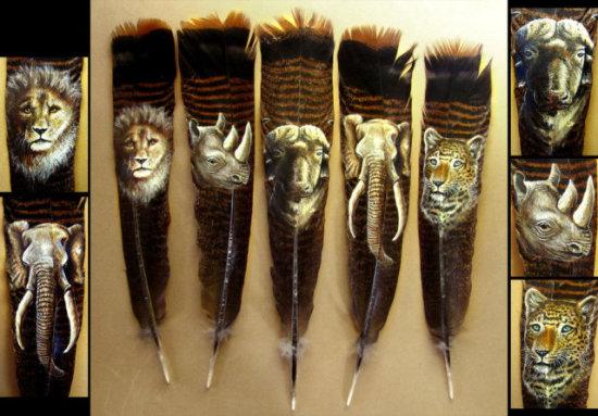 The Big Five by Kodriak: Five unbelievably detailed feathers by Kodriak
