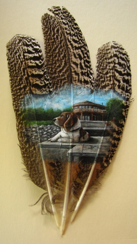 The Life by Kodriak: A dog's life rendered on feathers. Dog art by Kodriak