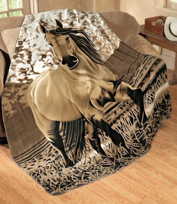 Western Horse Fleece Throw