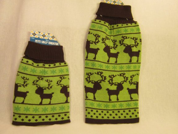 Lime Green with Brown Reindeer Ugly Dog Sweater