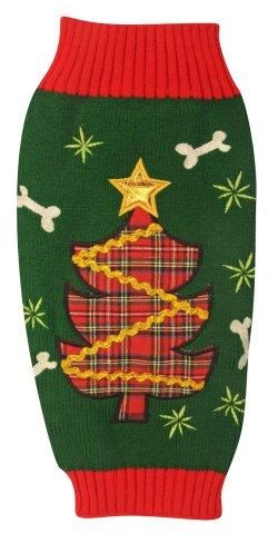 Ugly Plaid Christmas Tree Dog Sweater