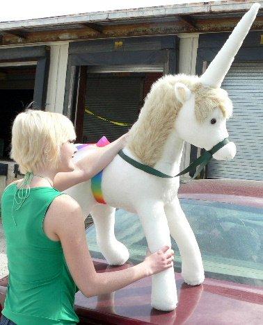 White with Beige Giant Stuffed Unicorn