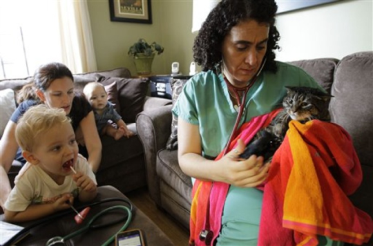 Dr. Elisabetta Coletti tends to cat while family looks on: © Associated Press, photo by Kathy Willems