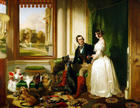 Queen Victoria and Prince Albert and Child at Home with the Dogs (Public Domain Image)