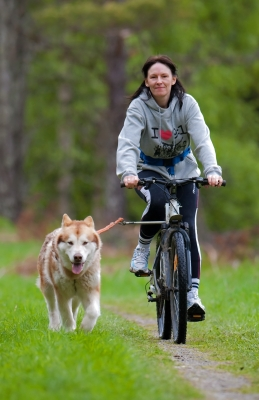 Woman biking with dog