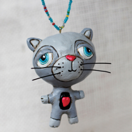 Grey Kittles Cat Ornament