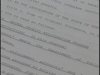 Texas draft of animal abuse registry law: image via newswest.com
