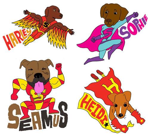 Composite of dog superheros: by Pets Are Superheros, image via dog-milk.com