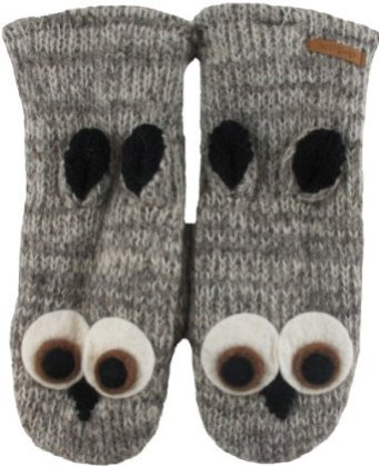 Delux Grey Owl Wool Animal Mittens