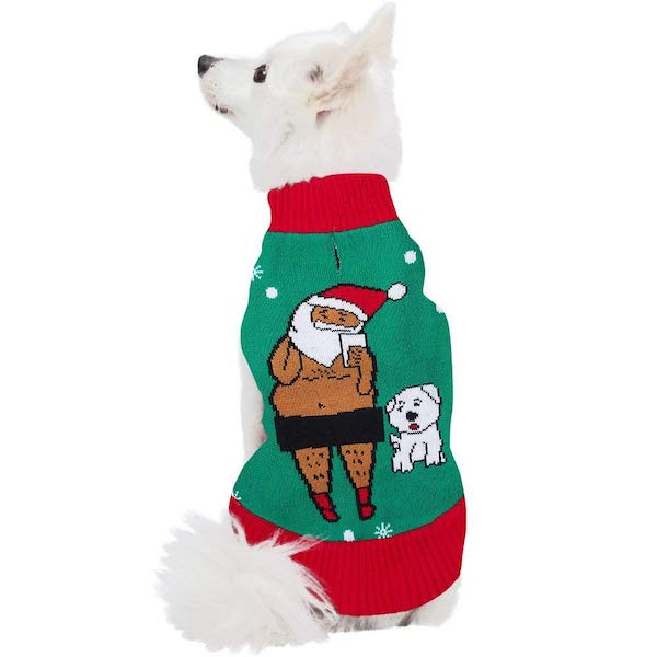 Uideazone Ugly Xmas Sweater For Dogs: Santa's Dog
