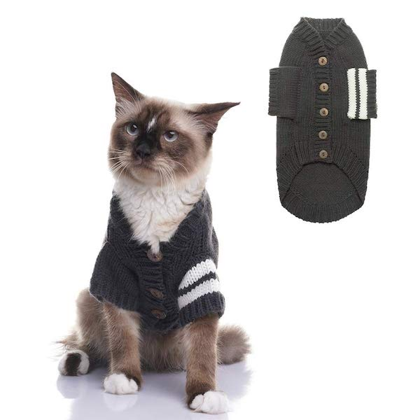 Expawlorer Grey Knitted Cat Sweater