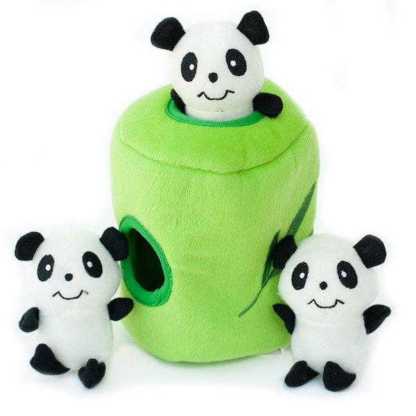 ZippyPaws Panda In Bamboo Burrow Squeaky Hide and Seek Plush Dog Toy