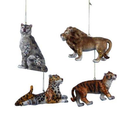 Animal Planet Lion, Tiger, Leopard, & Snow Leopard Ornaments by Kurt Adler