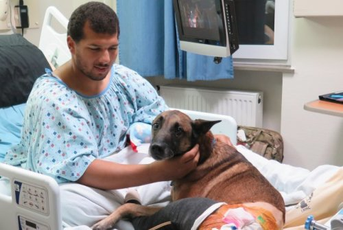 Andrew Brown and Rocky in Hospital