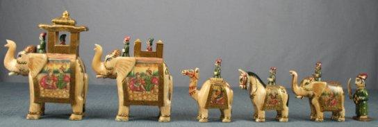 "Ambawari Carved Buffalo Painted 6"" Chessmen"