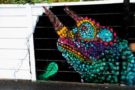 Chameleon by Chromers: Chameleon graffiti art in process by Chromers