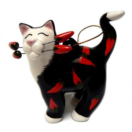 Chili Cat Ceramic Ornament from Amy Lacombe's WhimsiClay Collection