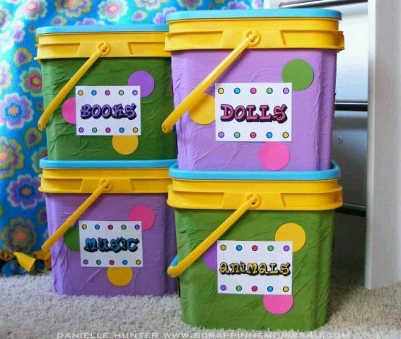 Toy Bins From Cat Litter Buckets