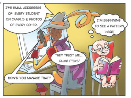 Page from Facebucks & Dumb F*cks graphic novel