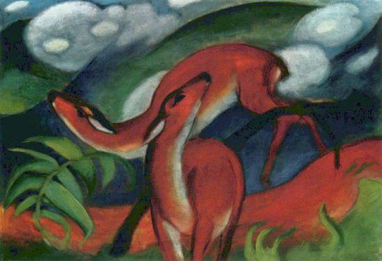 Red Deers by Franz Marc: Red Deers by Franz Marc