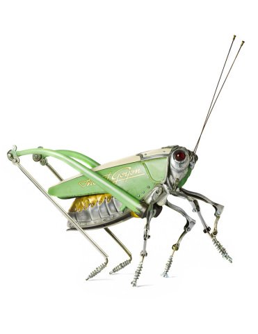 Grasshopper Art by Martinet: Take a close look at the lettering on the side of this grasshopper art of Martinet's.