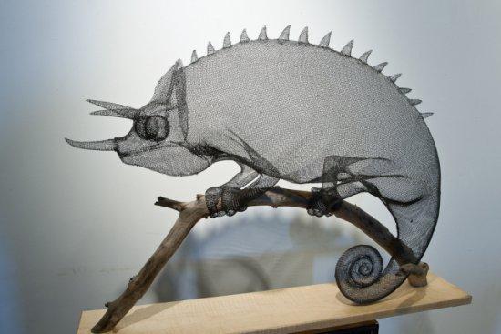 Chameleon by Roth: Chameleon animal art sculpture by artist Ben Roth.