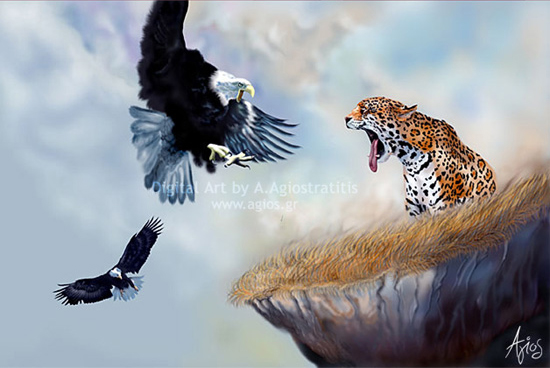 Jaguar by Agios: This jaguar is getting ready to take a huge bite! Jaguar art by Agiostratitis