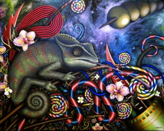 Chameleon Art by Hudgins: Lillian Chameleon Loves Licking Lollipop Limbs by Eric Hudgins