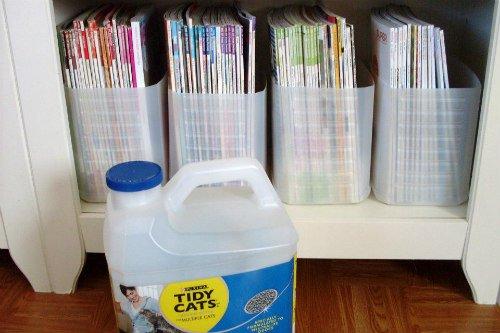 Recycled Kitty Litter Jugs Make Great DIY Magazine Racks: As found on Pinterest via pinner Paula Hertz